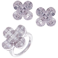 18 Karat White Gold Diamond Medium Clover Solid Baguette Earring Ring Set