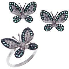 18 Karat White Gold Diamond Medium Emerald Butterfly Earring Ring Set