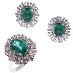 18 Karat White Gold Diamond Medium Emerald Flower Baguette Earring Ring Set