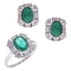 18 Karat White Gold Diamond Medium Emerald Square Earring Ring Set