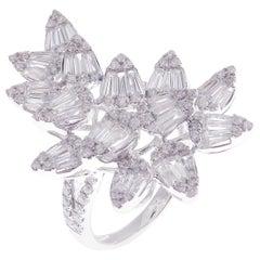 18 Karat White Gold Diamond Medium Flower Pear Motif Baguette Fancy Ring