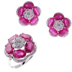 18 Karat White Gold Diamond Medium Ruby Flower Earring Ring Set