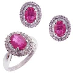 18 Karat White Gold Diamond Medium Ruby Oval Earring Ring Set