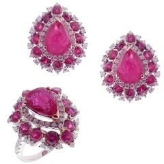 18 Karat White Gold Diamond Medium Ruby Pear Cluster Earring Ring Set