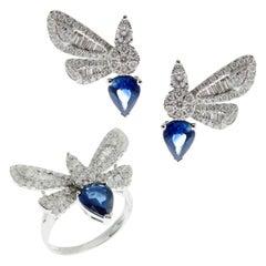 18 Karat White Gold Diamond Medium Sapphire Butterfly Earring Ring Set