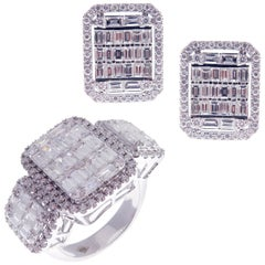 18 Karat White Gold Diamond Medium Solid Flat Baguette Earring Ring Set