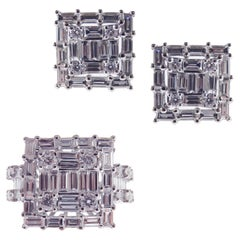 18 Karat White Gold Diamond Medium Square Baguette Earring Ring Set