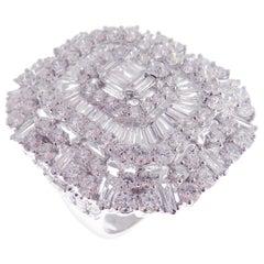 18 Karat White Gold Diamond Medium Square Baguette Fancy Ring