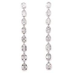 18 Karat White Gold Diamond Mosaic Duster Earrings