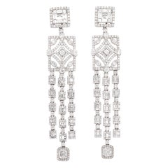 18 Karat White Gold Diamond Mosaic Duster Earrings
