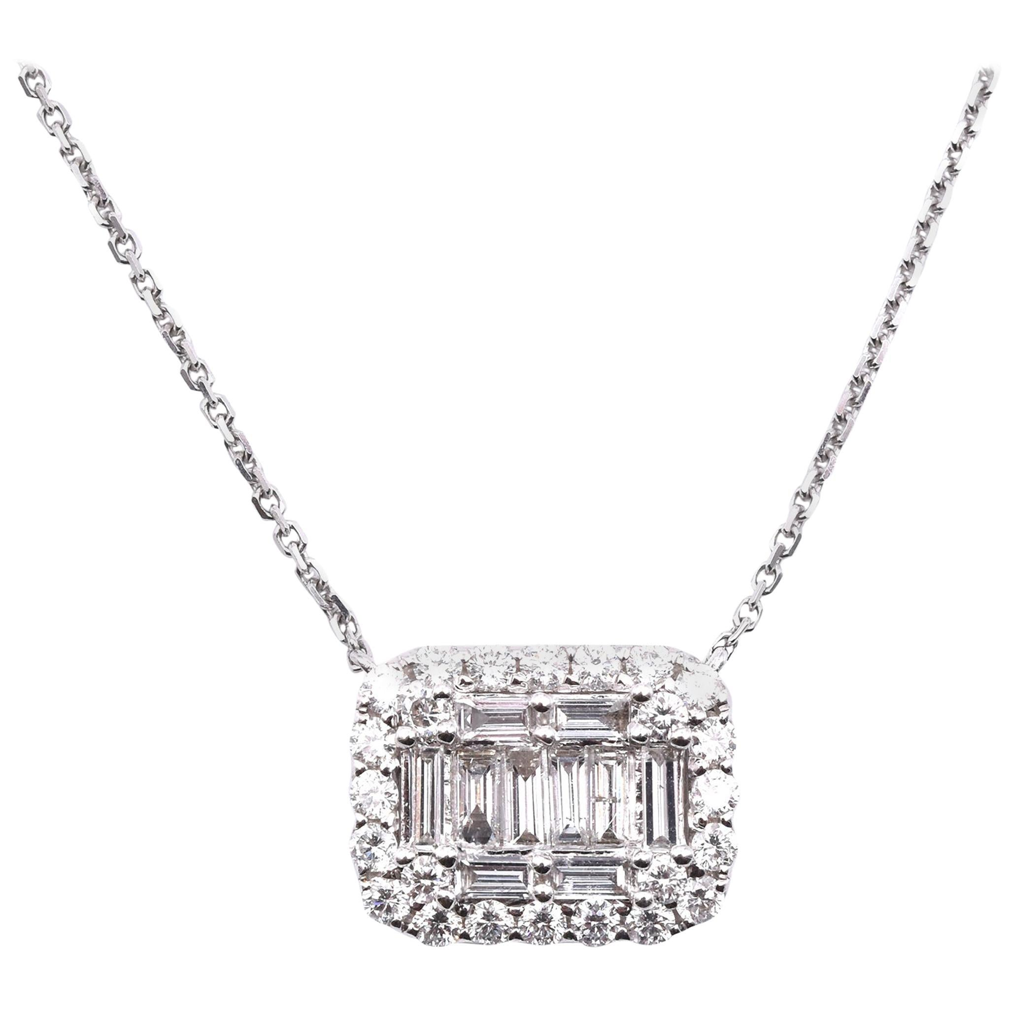 18 Karat White Gold Diamond Mosaic Necklace