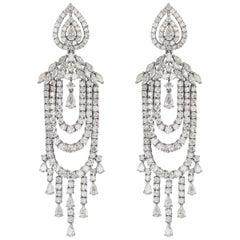 18 Karat White Gold Diamond Multistring Chandelier Dangle Earring