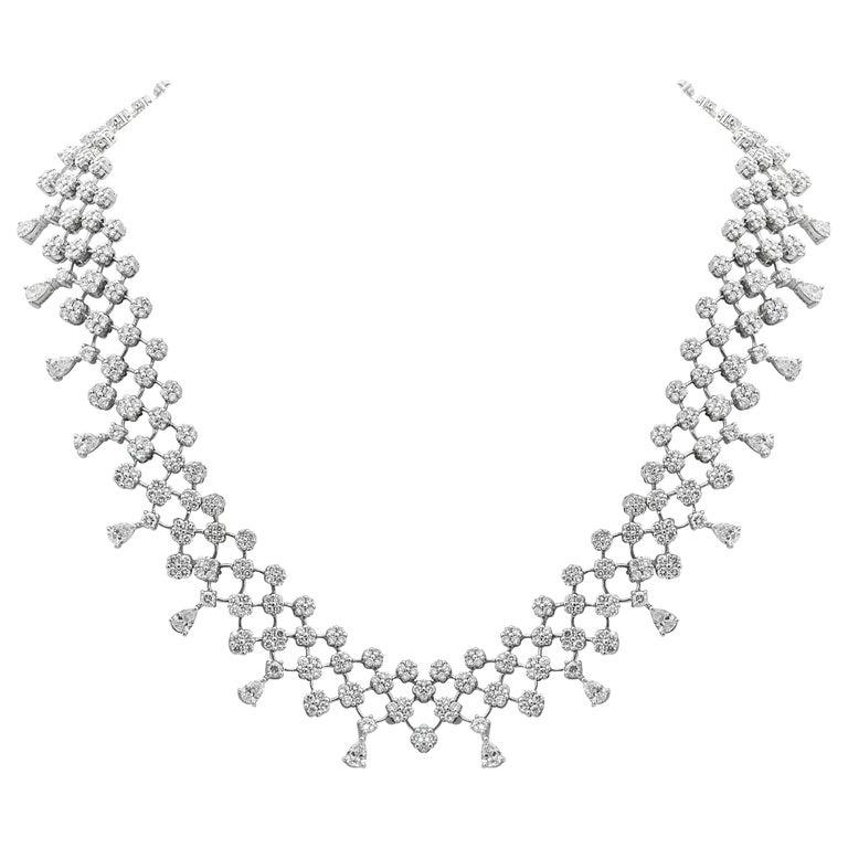 18 Karat White Gold Diamond Necklace For Sale
