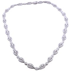 18 Karat White Gold Diamond Necklace Pear Shaped Design