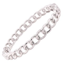 18 Karat White Gold Diamond Open Cuban Link Bangle Bracelet