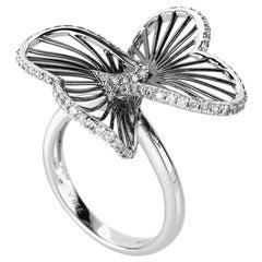 18 Karat White Gold Diamond Openwork Flower Ring