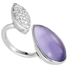 18 Karat White Gold Diamond Pave and Amethyst Cabochon Open Ring