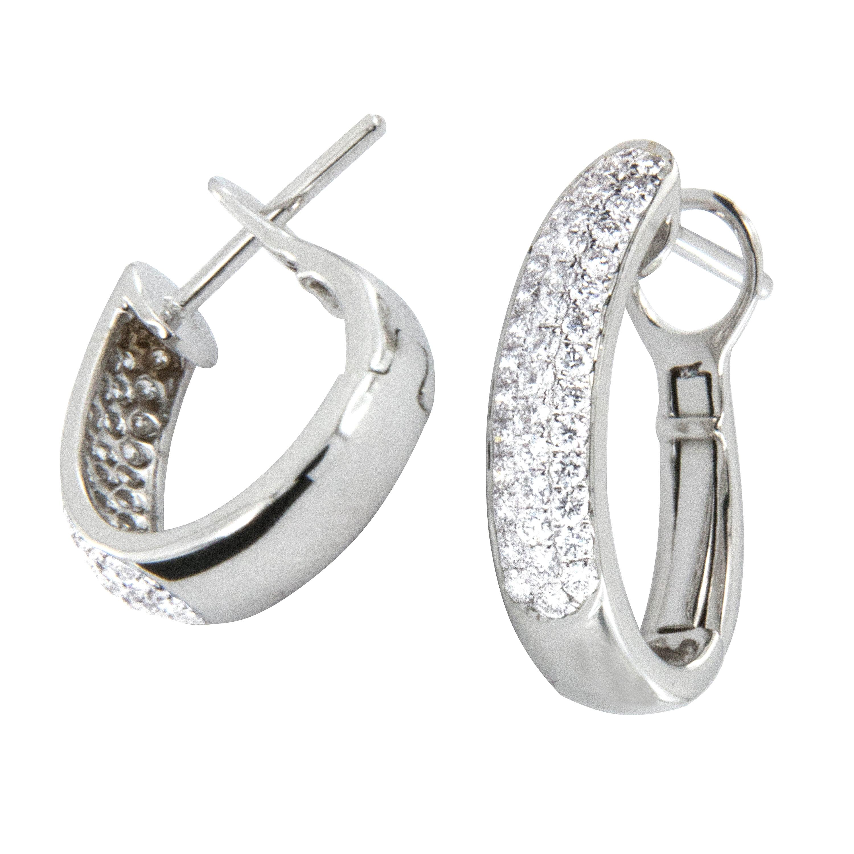 18 Karat White Gold Diamond Pave Hoop Earrings