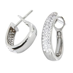 18 Karat White Gold Diamond Pave Hoop Earrings