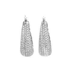 18 Karat White Gold Diamond Pave Petite Hoop Earrings