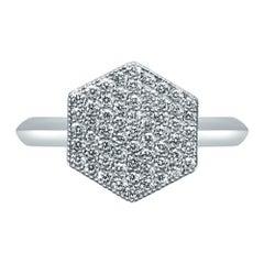 18 Karat White Gold Diamond Pave Ring