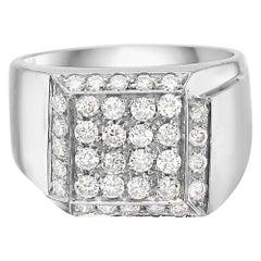 18 Karat White Gold Diamond Pave Ring Pinky Unisex
