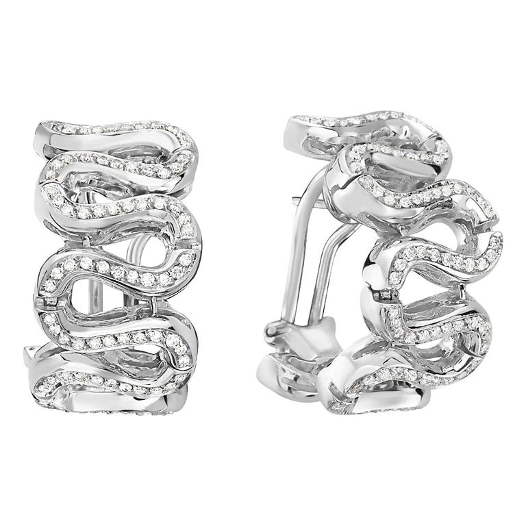 18 Karat White Gold Diamond Pave Swirl Hoop Earrings For Sale