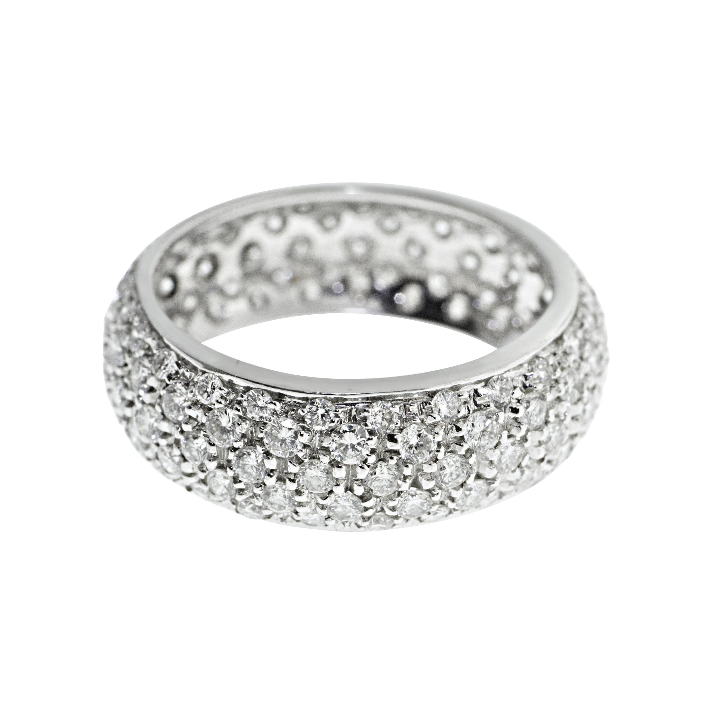 18 Karat White Gold Diamond Pave Wedding Band Ring