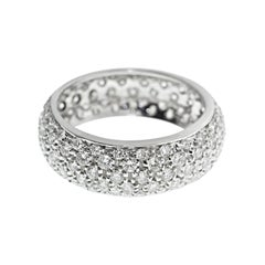 18 Karat White Gold Diamond Pave Wedding Band Ring