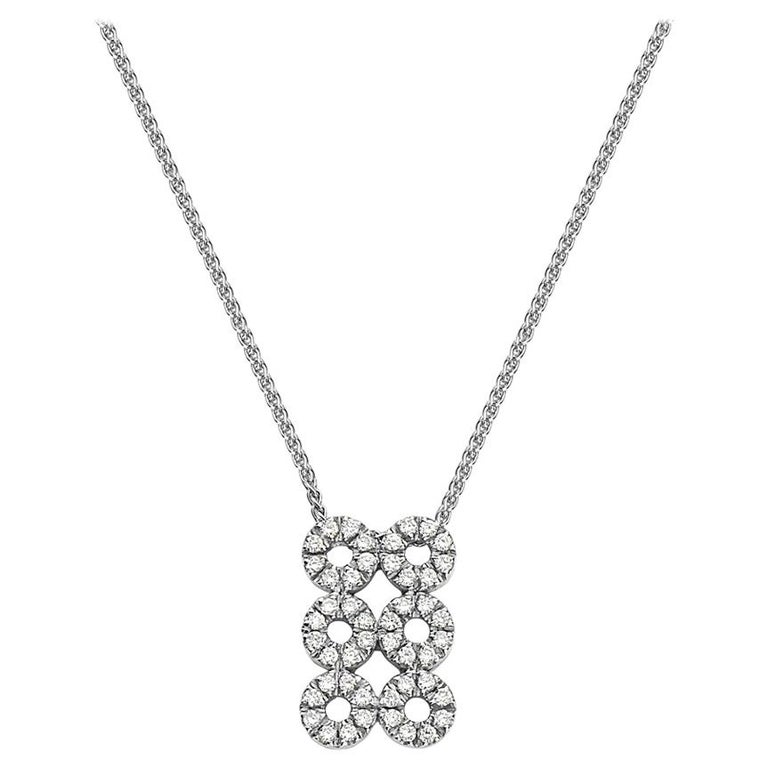 18 Karat White Gold Diamond Pendant Necklace For Sale