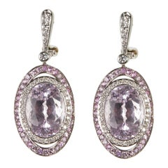 18 Karat White Gold Diamond, Pink Sapphire and Kunzit Dangle Earrings