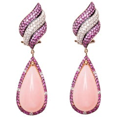 18 Karat White Gold Diamond Pink Sapphire and Rose Opal Dangle Earrings