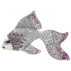 18 Karat White Gold, Diamond, Pink Sapphire Golden Fish Brooch