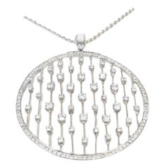 18 Karat White Gold Diamond Rain Drops Pendant Necklace