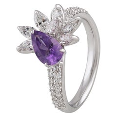 18 Karat White Gold Diamond Ring with Amethyst