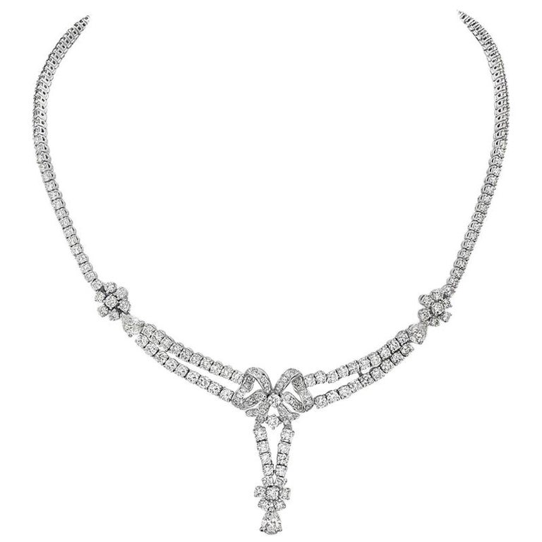 18 Karat White Gold Diamond Riviera Necklace For Sale