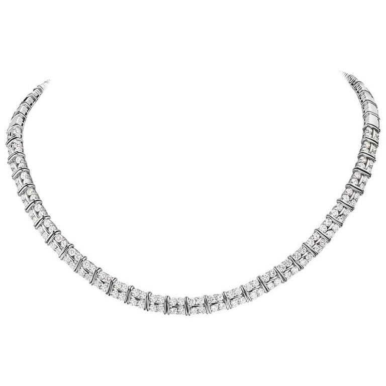 18 Karat White Gold Diamond Riviera Necklace For Sale