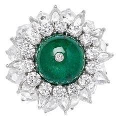 18 Karat White Gold Diamond, Rose Cut and Emerald Melon Ball Ring