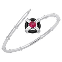 18 Karat White Gold Diamond Rubellite and Onyx Bangle