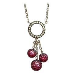 18 Karat White Gold Diamond Ruby and Pink Sapphire Ball Necklace
