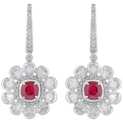 18 Karat White Gold Diamond Ruby Earrings