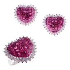 18 Karat White Gold Diamond Ruby Invisible Heart Earring Ring Set