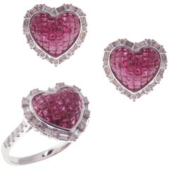 18 Karat White Gold Diamond Ruby Invisible Small Heart Earring Ring Set