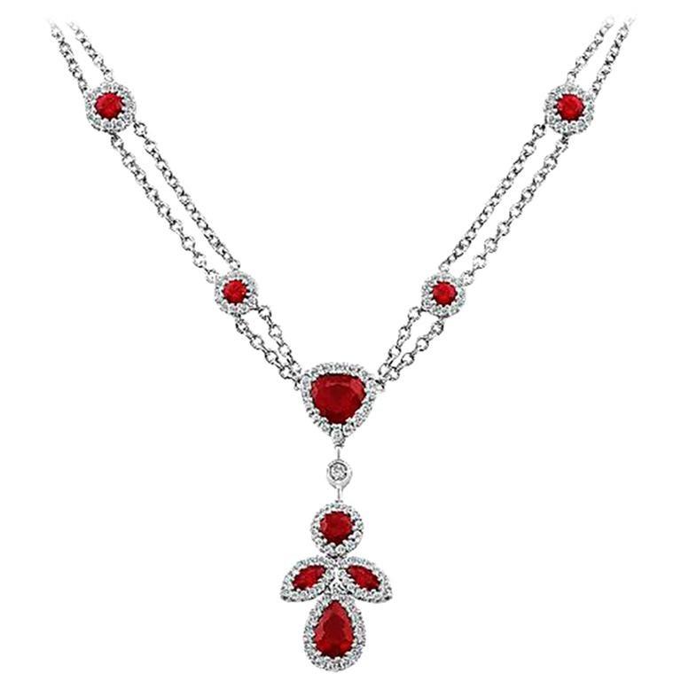 18 Karat White Gold Diamond Ruby Pendant Necklace