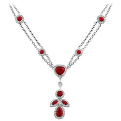 18 Karat White Gold Diamond Ruby Pendant Necklace