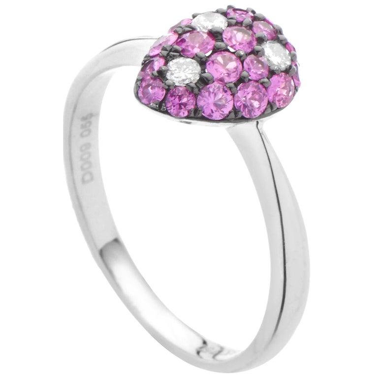 18 Karat White Gold Diamond Ruby Ring For Sale