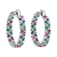 18 Karat White Gold Diamond, Ruby, Sapphire & Emerald Hoop Earrings