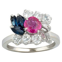 18 Karat White Gold Diamond Sapphire and Ruby Cluster Ring
