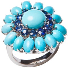 18 Karat White Gold Diamond Sapphire and Turquoise Cocktail Ring