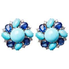 18 Karat White Gold Diamond, Sapphire and Turquoise Earrings